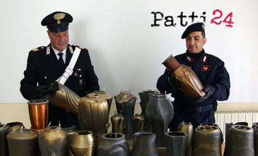 MERI' – Torrente Mela: i Carabinieri di Merì ritrovano un deposito di materiale pregiato, rinvenuti anche numerosi ornamenti funerari