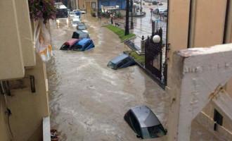 GIARDINI NAXOS –  Violento nubifragio e il paese va sott'acqua