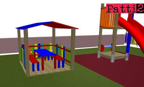 """PATTI – Al """"Parco dei Colori"""":  una casetta con panche e tavolino,dove i bambini possano, disegnare, fare merenda e quant'altro"""