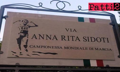 """GIOIOSA MAREA – """"Via Anna Rita Sidoti"""" campionessa mondiale di marcia. Intitolato il lungomare di San Giorgio"""