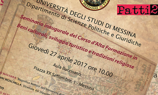 """MESSINA – Giovedì 27, Seminario inaugurale del Corso d'Alta Formazione in """"Beni culturali, sviluppo turistico e tradizioni religiose"""""""