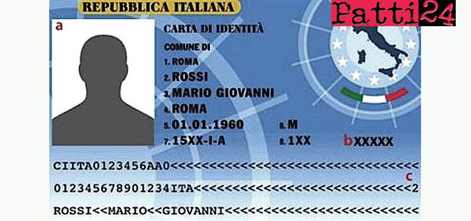 PATTI – Attivati presso l'Ufficio di Anagrafe i servizi per il rilascio della carta d'identità elettronica