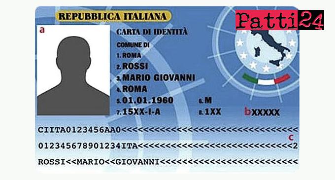 PATTI – Carta di identità elettronica. 22,50 euro per il rilascio