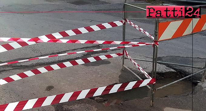 PATTI – Fuoriuscita di acqua dal suolo in Via 2 Giugno. Transenna, nastro bianco-rosso e voilà, tutto ok