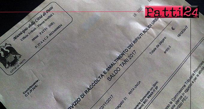 PATTI – Tari. A breve arriveranno gli avvisi di pagamento della terza rata, a saldo, dell'anno 2020