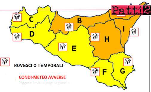 MESSINA – Maltempo, livello di allerta arancione con condizioni meteo avverse anche in provincia. Numerose le scuole chiuse