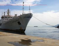 """MESSINA – Giunta stamane nel porto la nave di ricerca oceanografica della Marina russa """"Admiral Vladimirskiy"""""""