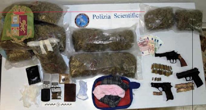 MESSINA – Sequestro di cocaina, marijuana e tre pistole a Santa Lucia Sopra Contesse. Due gli arresti, una persona denunciata.
