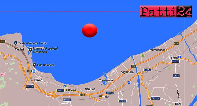FALCONE – Lieve sisma di ML 2.4, ipocentro a 9 km in mare con epicentro a 4 Km da  Falcone ed Oliveri.