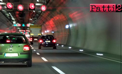 A20 – A18 – Nelle gallerie  superiori ai 500 metri, limite di velocità di 80 km/h, divieto di sorpasso e obbligo di distanziamento minimo di 100 metri