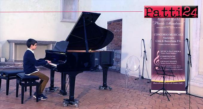 """PATTI – Secondo posto al Concorso Musicale Nazionale """"Placido Mandanici"""" per Alberto Salmeri, di San Giorgio di Gioiosa Marea."""