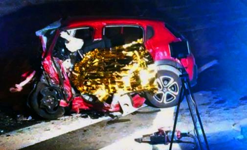 A18 – Incidente mortale. Auto sbatte contro il muro di una galleria nei pressi dello svincolo di Taormina.