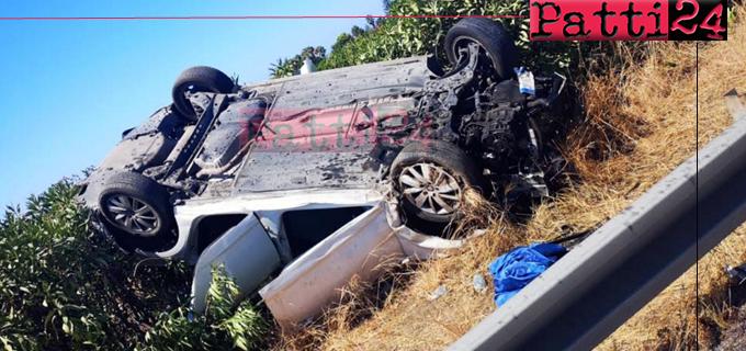 A20 – Auto capotta e finisce nello spartitraffico. Genitori e figli, feriti,  sono stati trasferiti al Policlinico di Messina.