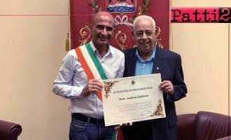 MILAZZO – Sindaco consegna attestato di benemerenza al giornalista Andrea Italiano