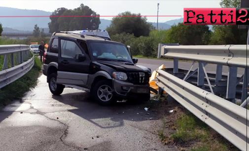 """A20 – Incidente stradale autonomo nei pressi dei parcheggi """"Bazia Sud"""" a Furnari. Un ferito"""