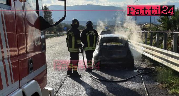 A20 – Auto in fiamme sulla A20 nel rettilineo Bazia direzione Palermo