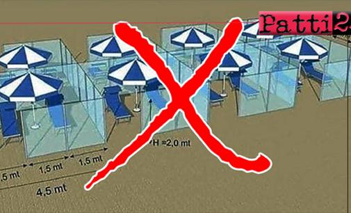 """OLIVERI – """"Negli stabilimenti balneari non ci sarà nessun recinto di plexiglass"""""""