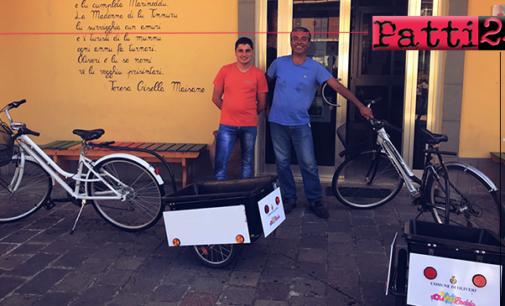 """OLIVERI – Clean Bike. Donate due bici """"raccogli rifiuti""""."""