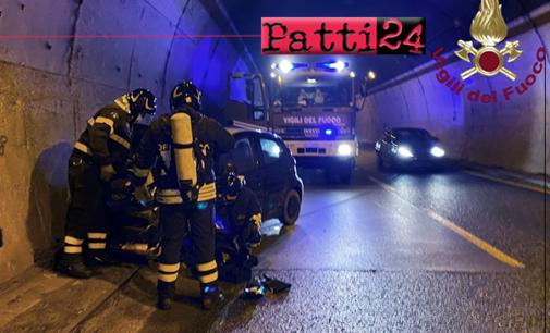 MESSINA – A20. Auto sbanda in galleria Spadalara, ferita lievemente la conducente