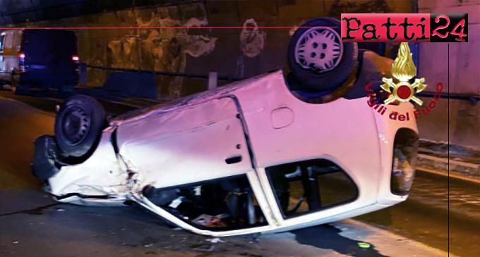 A20 – Auto si ribalta nella galleria Cicero a Gioiosa Marea, feriti trasportati in ospedale