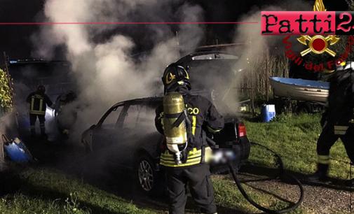TERME VIGLIATORE – Due auto in fiamme zona Marchesana. Cause del rogo in fase di accertamento.
