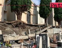 MILAZZO – Maltempo. Nuovo crollo muro di contenimento nel cimitero comunale.